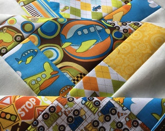 Riley Blake On The Go - Unfinished baby sized quilt top - 38 in x 38 in / BoBunny Designs / helicopter / airplanes / ready to quilt / boy