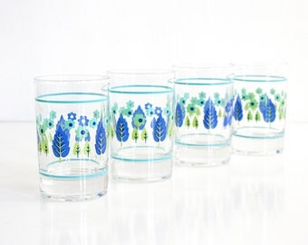 Mid Century Swiss Alpine Juice Glasses / Retro Glassware / Swiss Chalet Glasses by Marcrest / Mid Century Drinking Glasses / Vintage Glasses