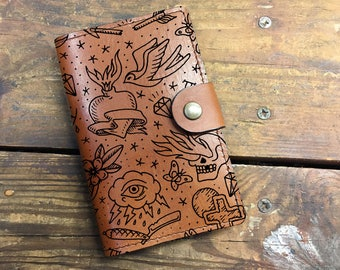tattoo Leather Journal, Leather Sketchbook, Leather Passport cover, moleskin Journal, field notes journal, moleskin cover