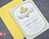 First Holy Communion Invitations · A6 FLAT · Sunshine Yellow and Gray · Cross | Banner | Moroccan Tile