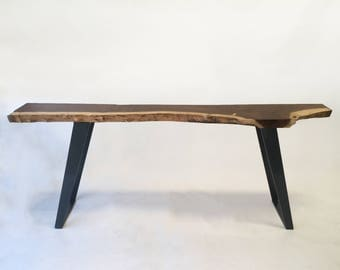 Natural Live Edge Walnut Slab Hall Table - Contemporary Console in Solid Rustic Walnut on Metal Legs