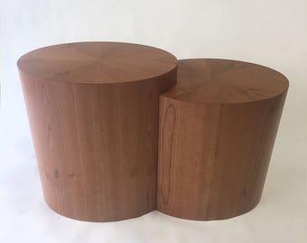 Eclipse + Ellipse Veneer Pedestal/Side Table/Plant Stand in Cherry Veneer or your choice of 4 wood veneer options