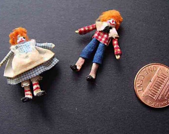 "PAIR of 1920's Miniature Rag Dolls for your dollhouse:  1 1/4"" Raggedy Ann and Raggedy Andy - Fine Vintage Condition"