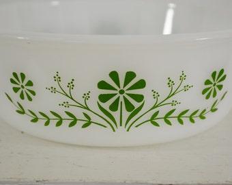last chance Vintage Glasbake Milk Glass Round Casserole Dish 1 1/2 Quart Made in USA Green Flowers