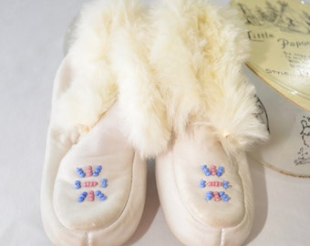 sale Vintage LITTLE PAPOOSE MOCCASINS size 5 toddler with box leather and fur