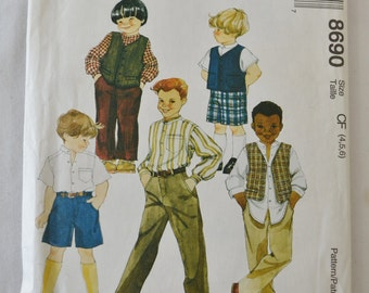 Vintage Boys Vest, Shirt, Shorts, and Pants 1997 Sewing Pattern McCall's 8690 Size 4, 5 and 6