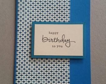 Basic blues - handmade Birthday card - blank inside