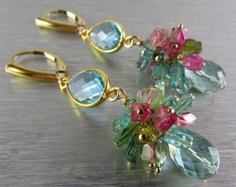 25OFF Aqau Blue Quartz with Tourmaline Cluster Gemstone Earrings