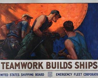 WW II Teamwork Builds Ships Public Service Poster - Teamwork Poster - Vintage Motivation Poster - Office Decor - Office Wall Art
