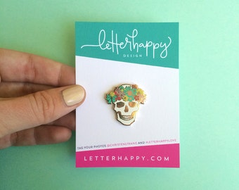 spring skull pin hard enamel pin cute brooch mothers day gift for her springtime flair easter lapel pin cloisonné gold metal floral skull