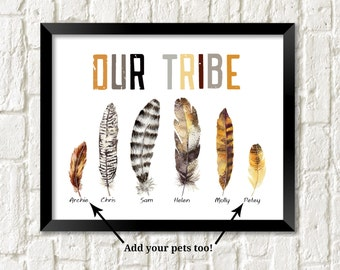 Boho tribal print personalized our tribe wall art tribal home decor feather print custom family pets name print tribal art family room decor