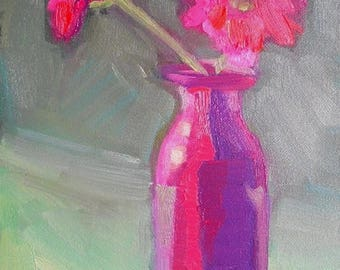 """Pink Flower Painting, Floral Still Life, Small oil painting, 6x8"""" Oil On Panel"""
