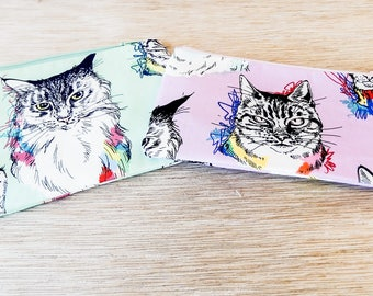 Cat Pouch, Zipper Pouch, Gift for Cat Lover, Pencil Pouch, Cosmetic Pouch, Coin Purse, Change Pouch, Cat Pouch, Mint or Pale Purple Cat Case