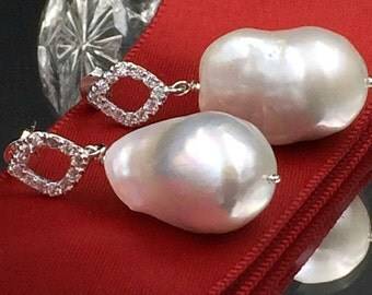 Nucleated Baroque Pearl Earrings Sterling Silver CZ Post Wire Wrap Ivory Pearl Dangle Earring Ivory Luxury Nucleated Baroque Pearl Earring