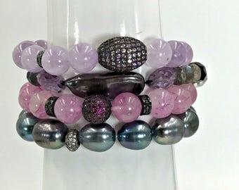 Pink Jade CZ Stretch Layering Bracelet Lavender Pave Pink Sapphire CZ Bead Yoga Bracelet Stacking Bracelet Mala Bracelet Pink Stack Bracelet