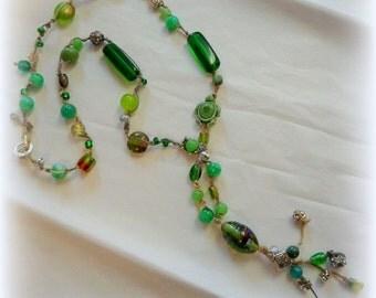 Beautiful Green Beaded BoHo Necklace