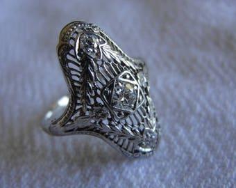 Antique art deco 18k white gold diamond ring size 10