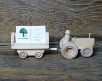 Tractor Business Card Holder Handmade wooden