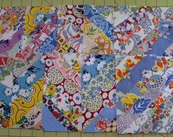 Summer Special 10 Strip Quilt Blocks, Vintage Feedsack Fabrics, Feed Sack Fabrics,  Scrap Quilt Blocks,  Patchwork Quilt Blocks,