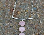 Three Stone Necklace. Oval Cabochons. Bezel Set. Silver Bar Design. Statement Piece. Rose Quartz. Moonstone. Onyx. Garnet. Rutilated quartz