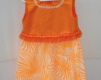 Size 5 Orange Summer Dress, Cotton and Polyester