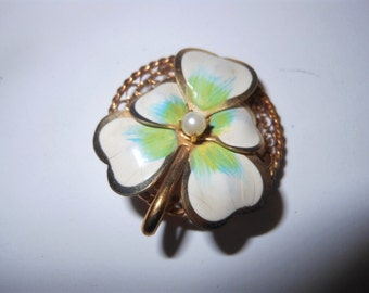 Gold and Enamel Vintage Pansy Brooch Pendant