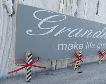 Grandkids Make Life Grand Picture Hanger, Grandparent Brag Board In Gray- Ready To Ship