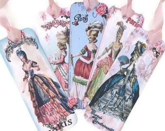 Bookmark Marie Antoinette, Paris Paper Bookmark, Let Them Eat Cake, Vintage Retro Bookmark, Book Lover, High Tea Party Favor,Paris Decor