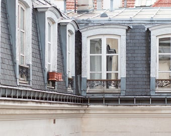 Paris Photography, Apartment Rooftops in The Marais, soft blue and grey tones, Paris, France, Wall Decor, Rebecca Plotnick, Paris Print