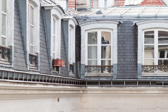 Paris Photography, Apartment Rooftops in The Marais, soft blue and grey tones, Paris, France, Wall Decor, Rebecca Plotnick, Paris Print