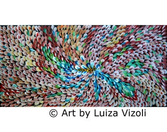 Rust Turquoise Original Abstract Flowers Oil Painting on 48x24 Gallery Canvas by Luiza Vizoli Changing Colors Seasons and Petals