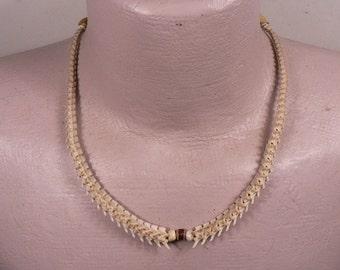 Rattlesnake Vertebra Mens or Womans Adjustable Choker / Necklace / Deer Antler Bead / Red Glass White Heart Bead