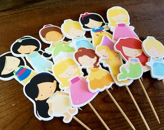 Princess Party - Set of 12 Assorted Double Sided Princess Cupcake Toppers by The Birthday House