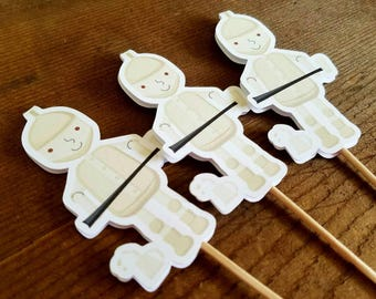 Oz Friends Party - Set of 12 Tin Man Cupcake Toppers by The Birthday House