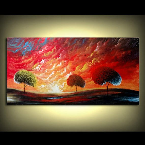 Original Art painting tree painting surreal art painting abstract wall art orange red sunset blue bird stars whimsical art 24 x 48
