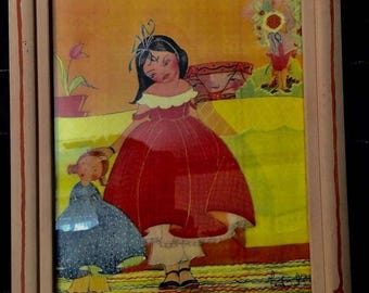 Authentic vintage color print by Fern Bisel Peat  - see the bowl on the shelf with the happy face