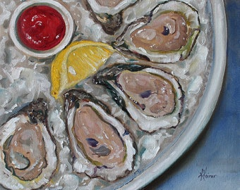 Oysters on the Half Shell Coastal Art Shellfish Seafood ORIGINAL Oil painting 10x8 by Kristine Kainer