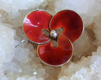 Vintage Enamel Sterling Brooch Norway Signed Hans Myhre Deep Orange Red Enamel Mod