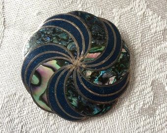 Sterling GARCIA Mexican Abalone & Lapis Inlay Brooch/ Pendant