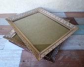 Two Gold Metal Filigree 8 x 10 Photo Frames