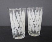 Two Tall Diamond Drinking Glasses