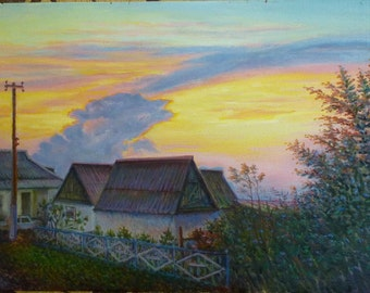 Oil Painting Landscape, original oil painting, Hand painted on cardboard, Wall Art, sunset painting, Landscape painting, willage painting
