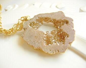 Champagne Druzy Pendant Necklace, Gold Plate, Long, Neutral, Sparkle