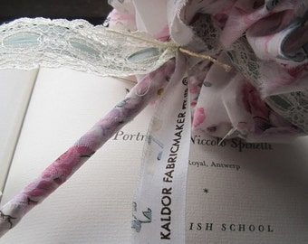Vintage Fabric Bouquet Set * Handmade Weddings * Vintage Fabric * OOAK Bouquets * Fabric Flowers * 1970's John Kaldor Fabric * Pink * Sage