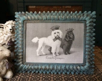 Poodles with French Crown, French Country Decor, Farmhouse Decor, Linen Print, Distressed Shabby Chic Frame, Poodle Printed on Linen