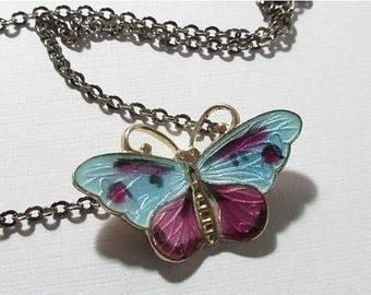 SALE Butterfly Necklace Enamel Sterling Signed CX Norway Purple Blue Mauve 9013