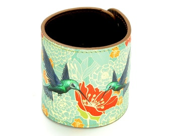 Leather Cuff Wallet also with Contactless Payment Chip - Hummingbirds in floral bliss