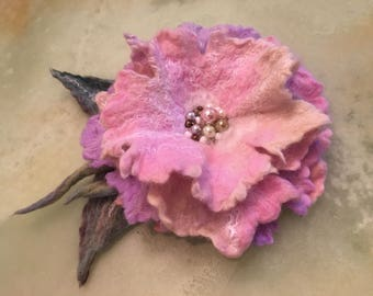 Mother's Day present Ready to ship .Brooch.  Felted pin.Felted wool brooch flower, pink salmon cream  merino wool,bam beads