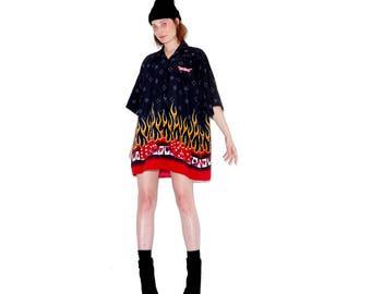 90s OVERSIZED FLAME SHIRT xl // menswear oversized boyfriend shirt dress las vegas dice flame dress 90s grunge cyber club kid rave vaporwave