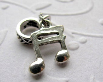 Somewhere There's Music charm, silver pewter musical note big hole bracelet charm, musician gift, music teacher
